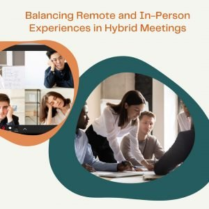 Two images comparing hybrid event attendees - Bored adults on zoom and adults working collaboratively in conference room